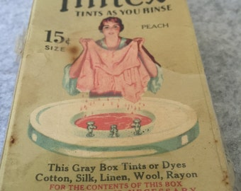 Vintage Box Tintex Clothes Dye Peach Unused Contents and Instruction