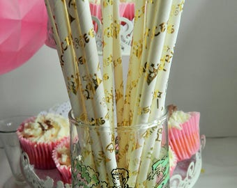 Paper party straws in    Bacoral/gold by Shower  Birthday  Baptism Naming day Wedding  Tea Party Wedding Christening family Party