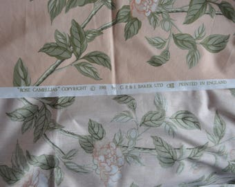 Vintage GP and J Baker 'Rose and Camellias' fabric 1.6 m unused