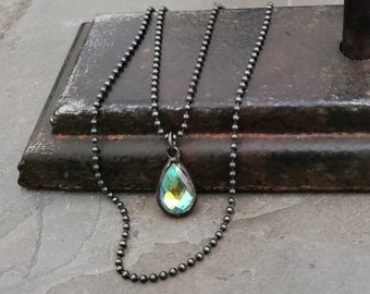 Crystal Teardrop Necklace, Oxidized Silver, Crystal Pendant, Sterling Silver, Crystal AB, Iridescent Crystal, Black Chain, Clear Crystal