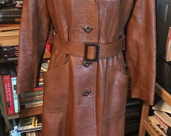 70's Cognac Leather Trench Coat by Harrison Peters