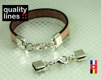 Full Silver Clasp for flat leather 10mm bracelet