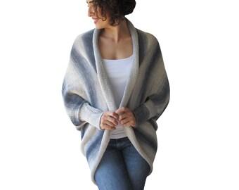 Cotton Plus Size Over Size Cardigan Long Sleeves Bolero Grey White