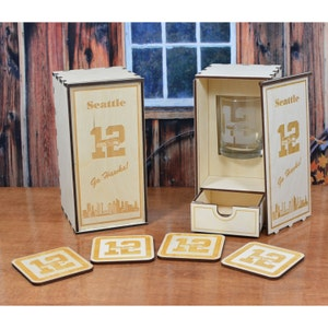 Personalized Wood Whiskey Glass Gift Box with 4 Coasters