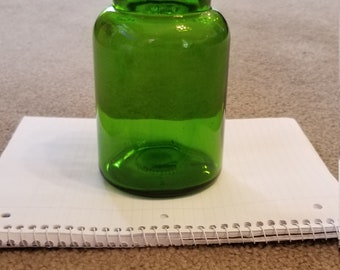 Vintage Forest Green Apothecary Glass Jar Storage Jar Made in Belgium Emerald Green