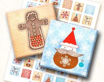 Christmas Story digital collage sheet. 1x1 inch square images for magnets, tile pendants, embellishments, card making. Digital download