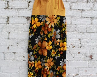 Vintage brown mustard yellow floral halter neck go go 60s 70s maxi dress S M