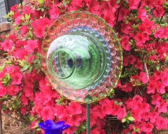 Green Bubble Up Glass Flower