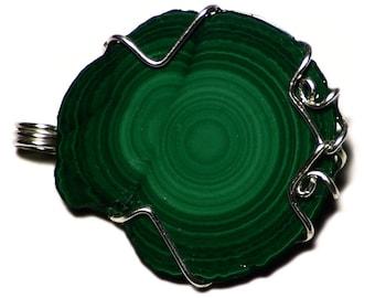 Malachite Necklace, Raw Malachite Jewelry, Congolese Malachite Stalactite Pendant in Sterling, Malachite Slice Gem From Congo