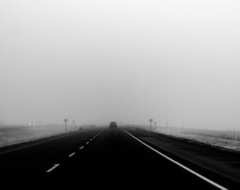 black and white landscape fog road photo, transcanada highway, fine art print, home decor photography wall road trip travel driving foggy