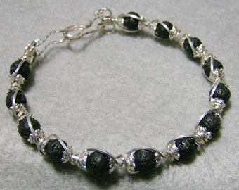 Lava Rock Bracelet - Wire Wrapped in Argentium Sterling Silver Wire - Round Black Beads with Handmade Clasp by JewelryArtistry - BR613