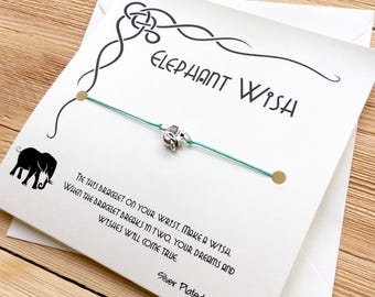 Elephant Bracelet Friendship Bracelet Elephant Jewelry Elephant Charm Gift For Friend Birthday Gift For Friend Wish Bracelet String Bracelet