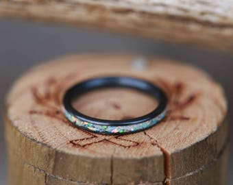 14K Rose Gold Wedding Band Featuring Fire Ice Opal