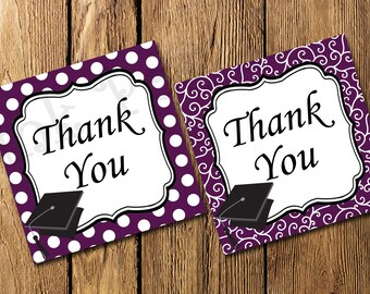 Printable Purple Graduation Thank You Tags - Instant Download