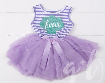 Fourth Birthday Outfit Dress, Little mermaid birthday outfit, Mermaid 4th Birthday Outfit, Purple and aqua, Seashell outfit, Under the sea