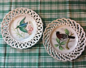 Porcelain Decorator Plates /  Birds / Set of 2