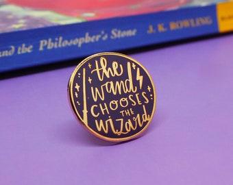 The Wand Chooses the Wizard - enamel lapel pin | cute enamel pin hat badge wizard magic