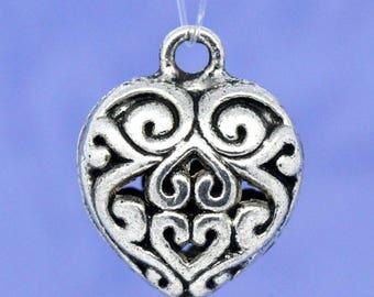 16x13mm openwork heart pendant