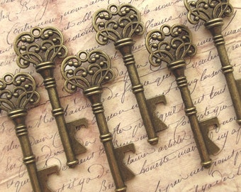 "Wedding Favors - Skeleton Key BOTTLE OPENERS – Set of 100 – Antique Bronze – 3"" Long (76mm) - Ships from USA."