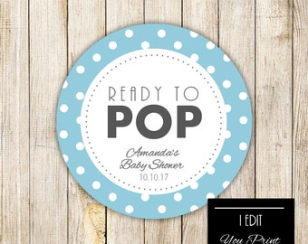 Digital READY TO POP Baby Shower Gift Tag, Gray Blue Polka Dots Gift Wrap,  Popcorn Tags, Cupcake Topper, Baby Boy Shower Printable Sticker