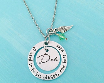 Dad Memorial Necklace - Memorial Jewelry - I used to be his Angel Necklace - Personalized Jewelry - In Memory Of Dad Necklace -Sympathy Gift
