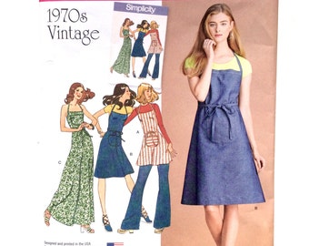 Simplicity 8073, Women's Dress Pattern, 1970s Vintage, Apron Dress, Size 4-12, Uncut Pattern