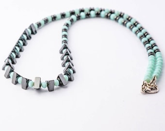 Triangle Hematite Necklace, Mint, Petrol Blue, Pink and Black Colors, Designed Jewelry