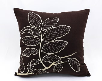 Brown Pillow Cover, Embroider Pillow,  Leaf Pillow Cover, Floral Throw Pillow, Botanical Pillow, Floral Cushion, Decorative pillow couch
