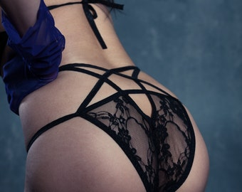 Lace Pentagram Panty Occult Goth Panties Sexy Harness Undies Vampire Underwear Inverted Black Star Transparent Lingerie Kinky Wiccan Bottom