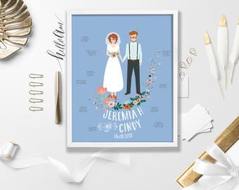 custom wedding portrait Wedding gift wedding guest book alternative bride and groom illustration wedding dress illustration couple portrait