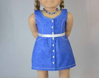 American Girl or 18 Inch Doll DRESS in Bright Blue and White with NECKLACE Belt and SHOES Option
