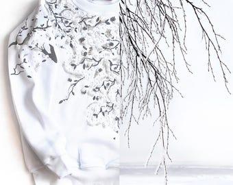 "Cotton sweatshirt ""White Winter"" hand embroidery"