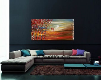 """Abstract Painting LANDSCAPE PAINTING , Oil Paintings on Canvas 48"""" Modern Textured Wall Art, Red Bird Birch Tree Art, Landscape Art, Nandita"""