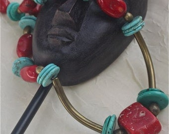 NECKLACE:  Funky Chunky necklace coral turquoise gemstone brass African trader beads   OOAK