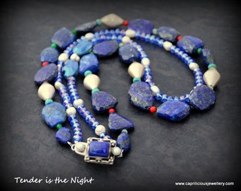 Statement jewellery, silver statement necklace, lapis lazuli, necklace, pearls, UK listing/shop, sophisticated, sterling silver, art jewelry