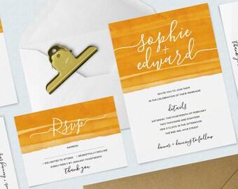 Mustard Yellow Watercolour Wedding Bundle, Invitation and RSVP Pack, Minimal, Calligraphy Invitation