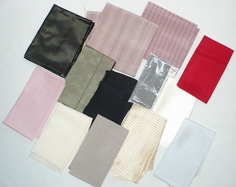 Silk Fabrics, Lot of 16 pieces, Assorted, 1/8's, Mauve, Cream, Black, Red, Sewing, Crazy Quilt, Bow Ties, Destash Lot