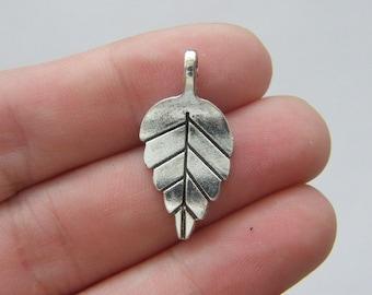 10 Leaf charms  antique silver tone L56