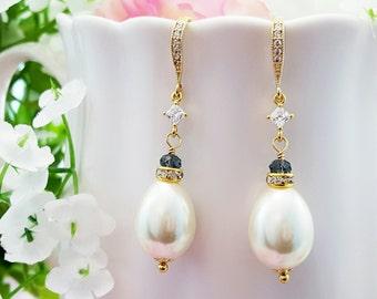 Pearl Crystal Earrings - Teardrop Pearl Earrings - Pearl and Sapphire Earrings - Something Blue For Bride - Blue Bridesmaid Earrings E4208