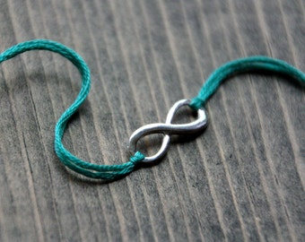 infinity friendship bracelet valentines day gift teal thread wishlet infinity jewelry wish bracelet mother daughter best friend valentine