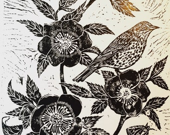 Song Thrush and  Hellebore, lino block print