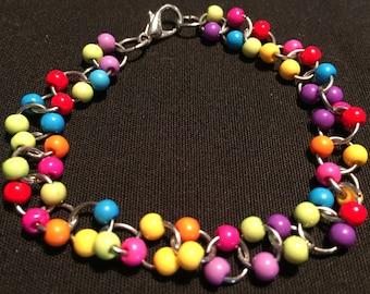 Rainbow Chain Mail Bracelet