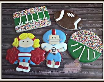 "Football Super Bowl Cheerleader decorated cookies 3"" -1 dozen"