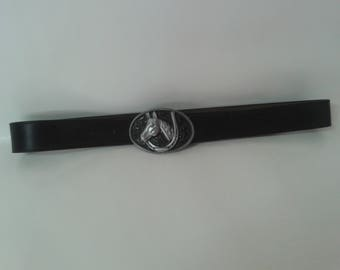 Black leather western belt