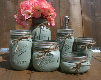 Genial 6 Pc Mason Jar Bathroom Set. You CHOOSE YOUR COLORS! Custom Painted