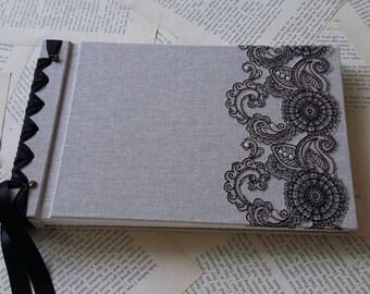 Personalised handmade, self mount, ribbon bound  photo album