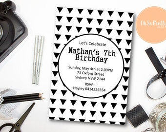 Black & White Monochrome Birthday Invitation - Printable Download - DESIGN 080
