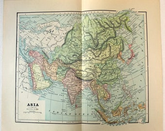 Original 1891 Map of Asia by Hunt & Eaton. China India Japan Southeast Asia. Antique