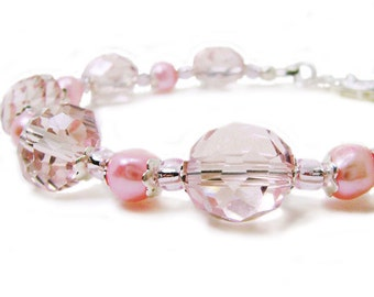 Courage Pretty in Pink - Faceted Glass and Cultured Pearl Beaded Bracelet