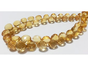 Citrine Faceted Beads - Onion Briolettes - 9 mm To 7mm Each - 2 Inch Half Strand - 12 Pieces